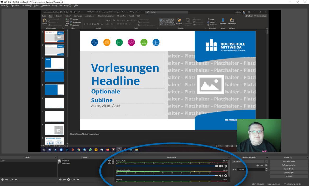 Screenshot aus OBS Studio. Der Audio-Mixer ist hervorgehoben und man sieht mehrere Tonspuren.